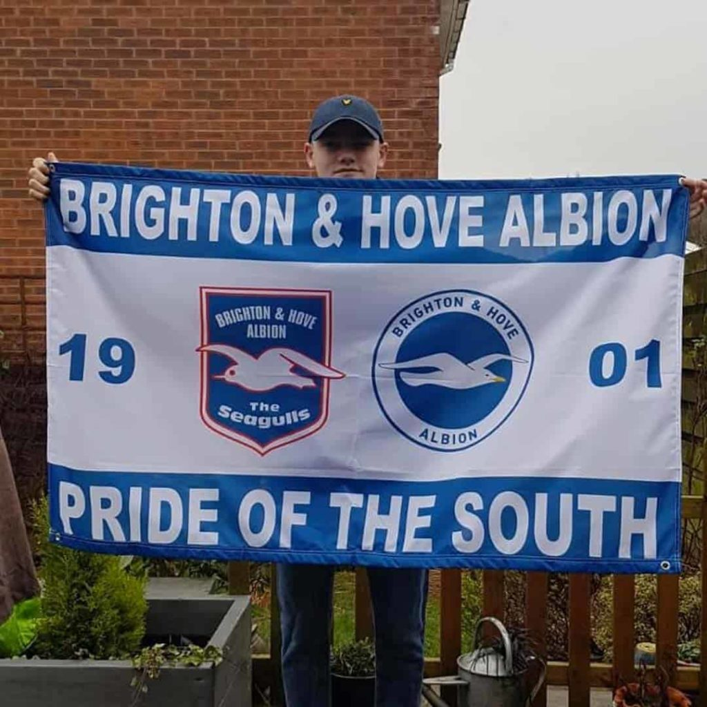 A Brighton supporter custom flag designed on Ultras Design website
