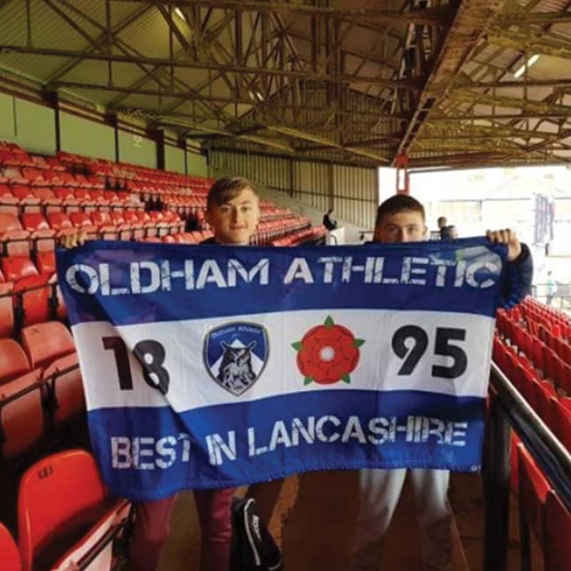 Personalised banner for Oldham Athletic size 5ft x 3ft