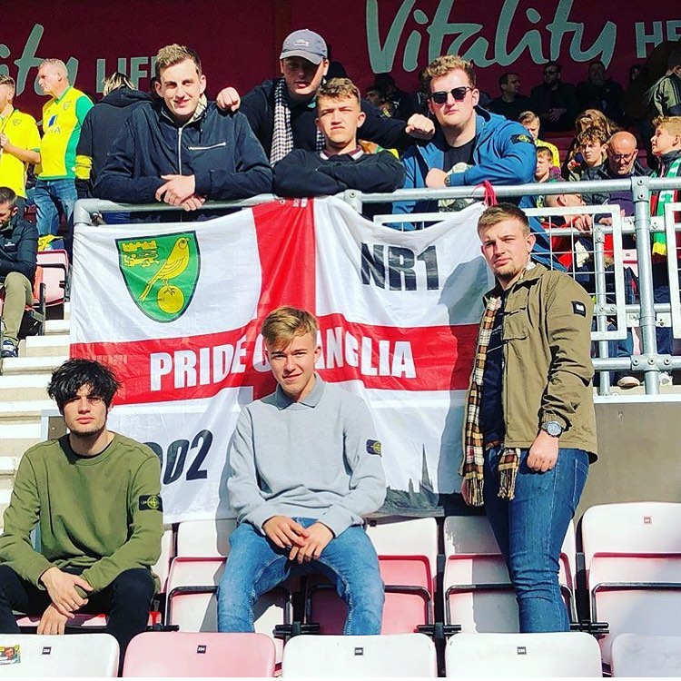 Norwich fans with custom 6ft x 4ft flag
