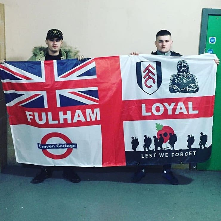 Fulham Loyal St George Cross personalised banner designed on Ultras Design Website