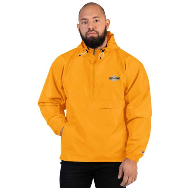 A man wearing Gold Custom Football Packable Jacket